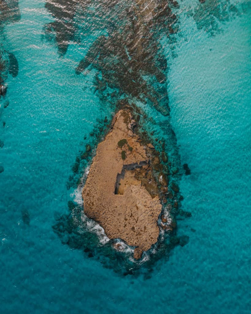 Akamas Peninsula clear water seen from the drone Cyprus in four days
