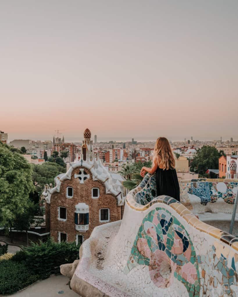 sunrise over Barcelona Park Guell