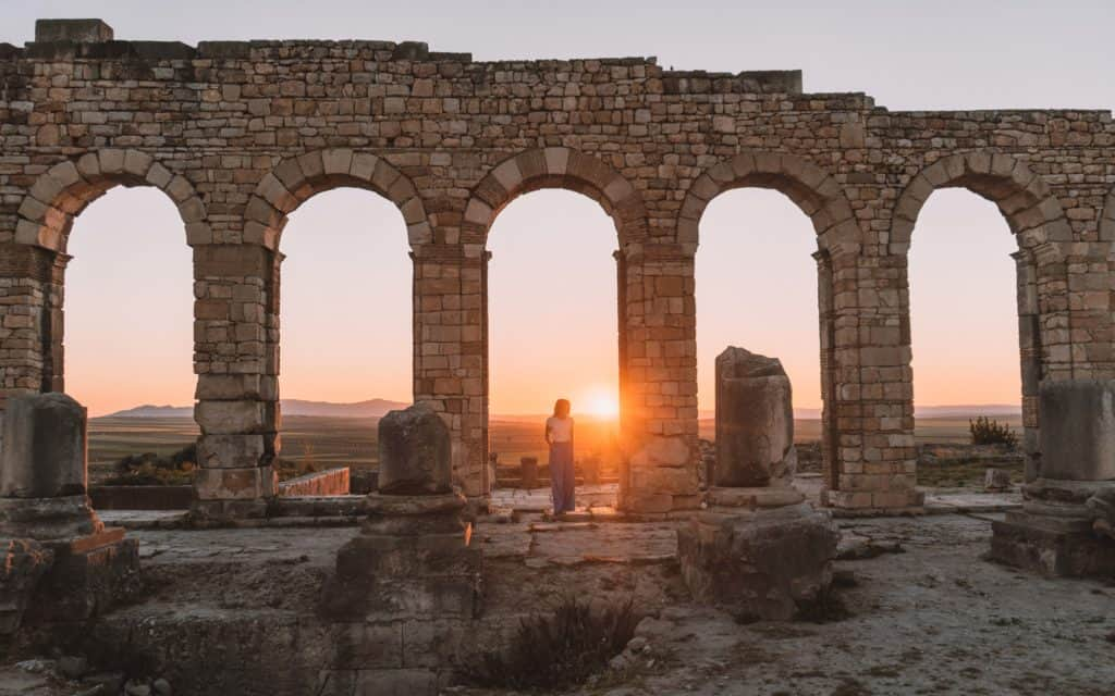 sunset in Volubilis beautiful ruins close to Fez Morocco