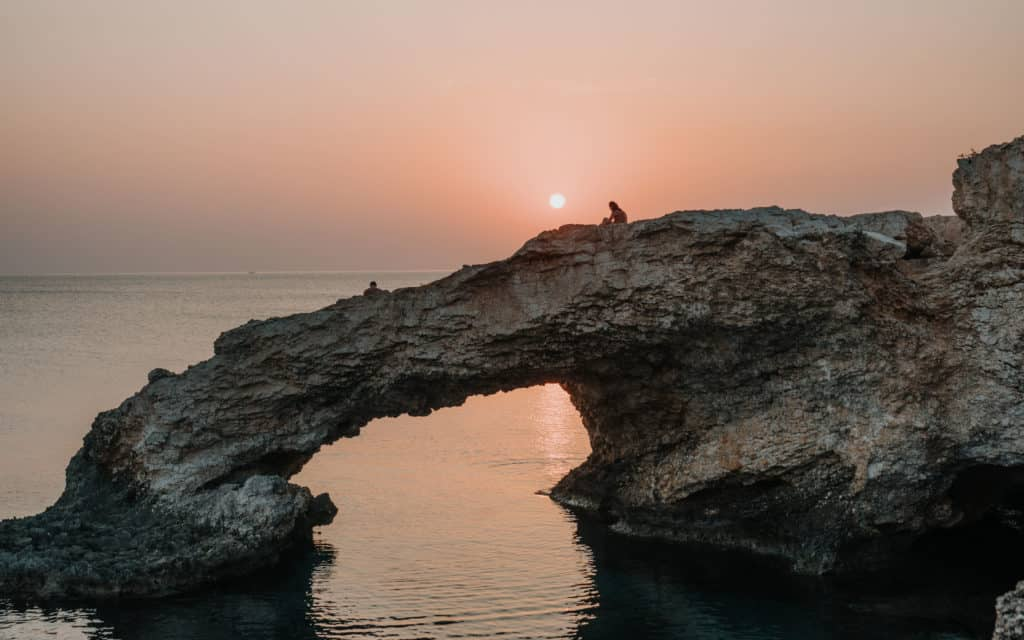 Sunset spot on Cyprus Love Bridge