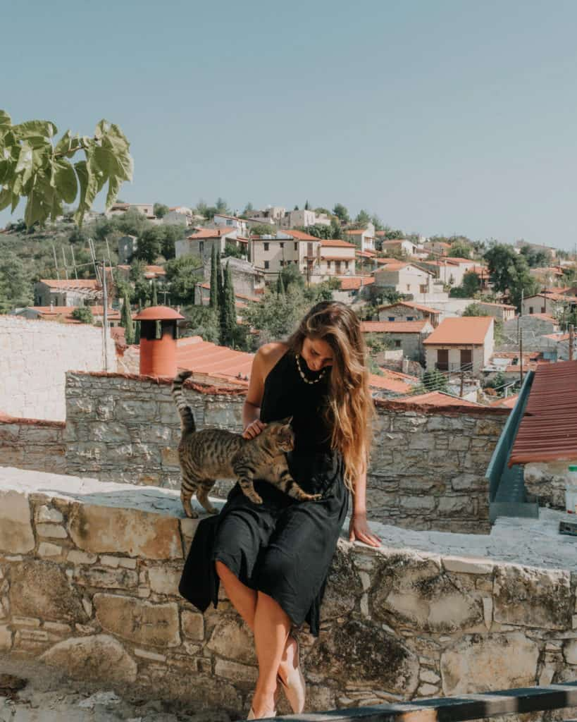 Lofu Cyprus girl with a cat