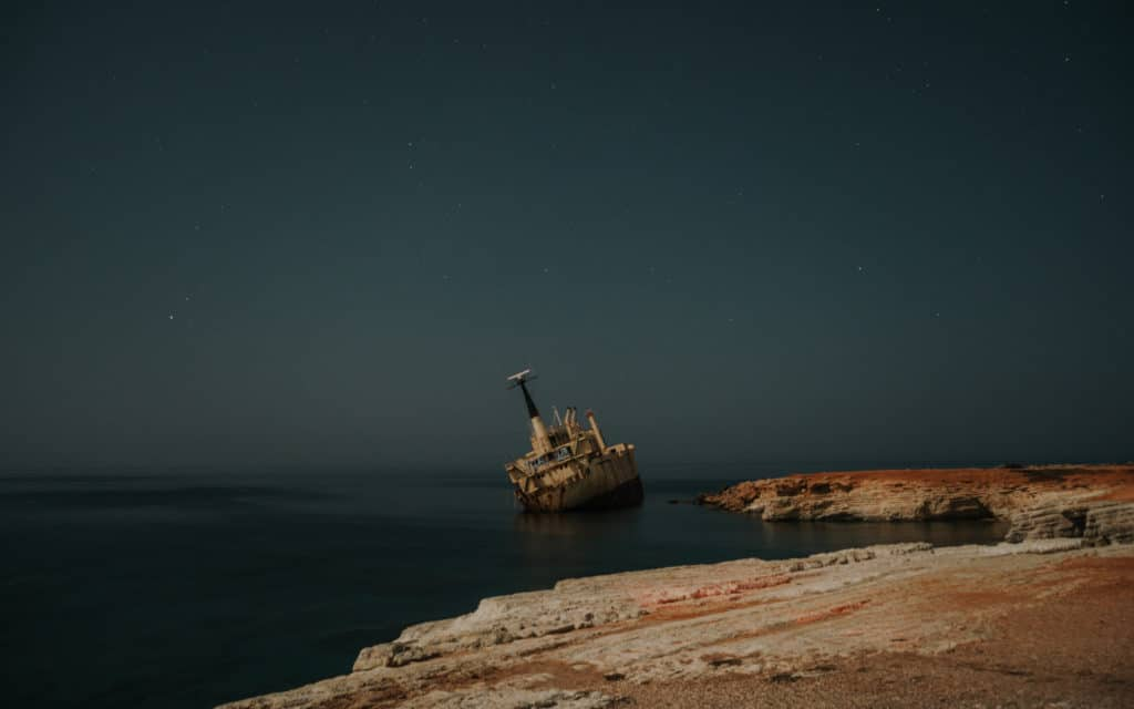 night shot of Erdo III Shipwreck coral bay Cyprus