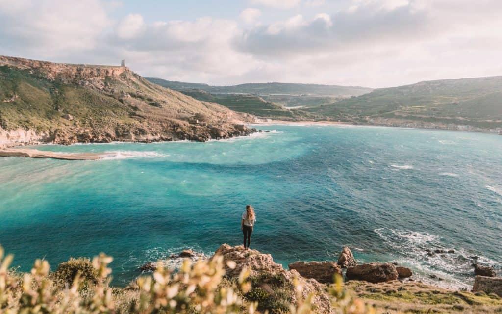 Best Off-Season Destinations. Ghajn Tuffieha Bay Golden Bay Malta sunset spot