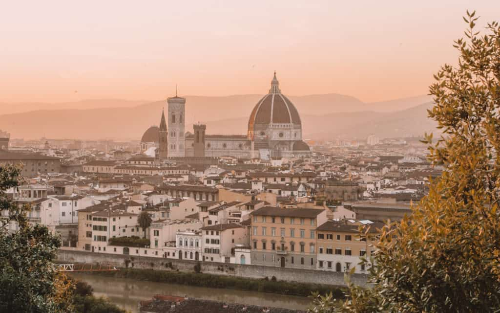 Best Off-Season Destinations. Florence sunset Piazza Michelangelo Tuscany Italy