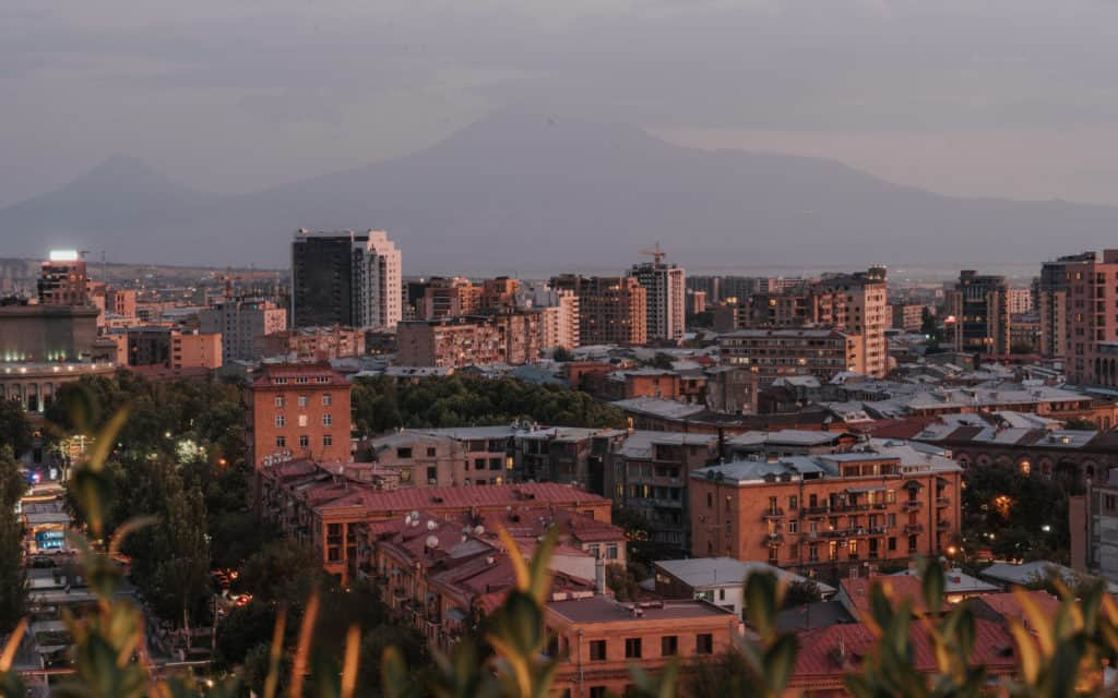 Best Off-Season Destinations. sunset view over Yerevan Armenia
