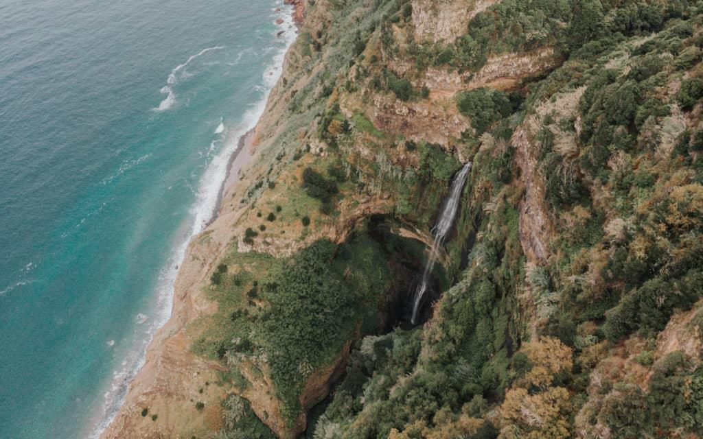hidden waterfall in Santana from the drone Madeira