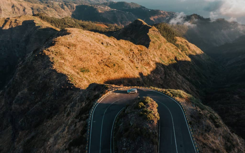 U-turn on ER110 road Madeira