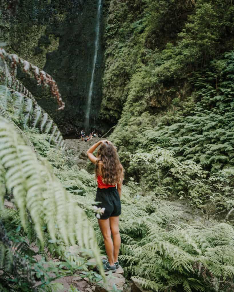 waterfall on levada do caldeirao verde madeira