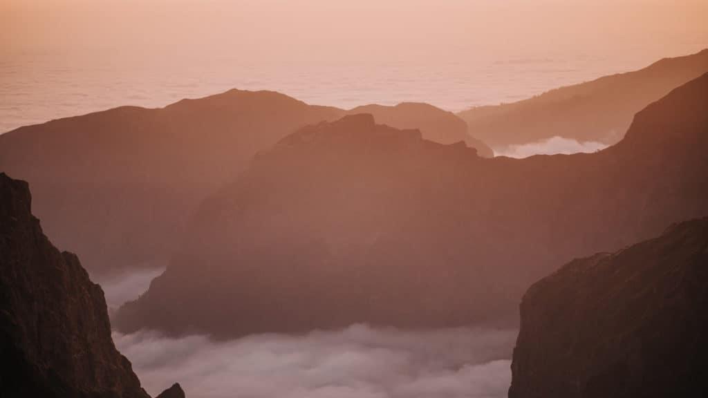 pico do arieiro above the clouds sunset spot on Madeira