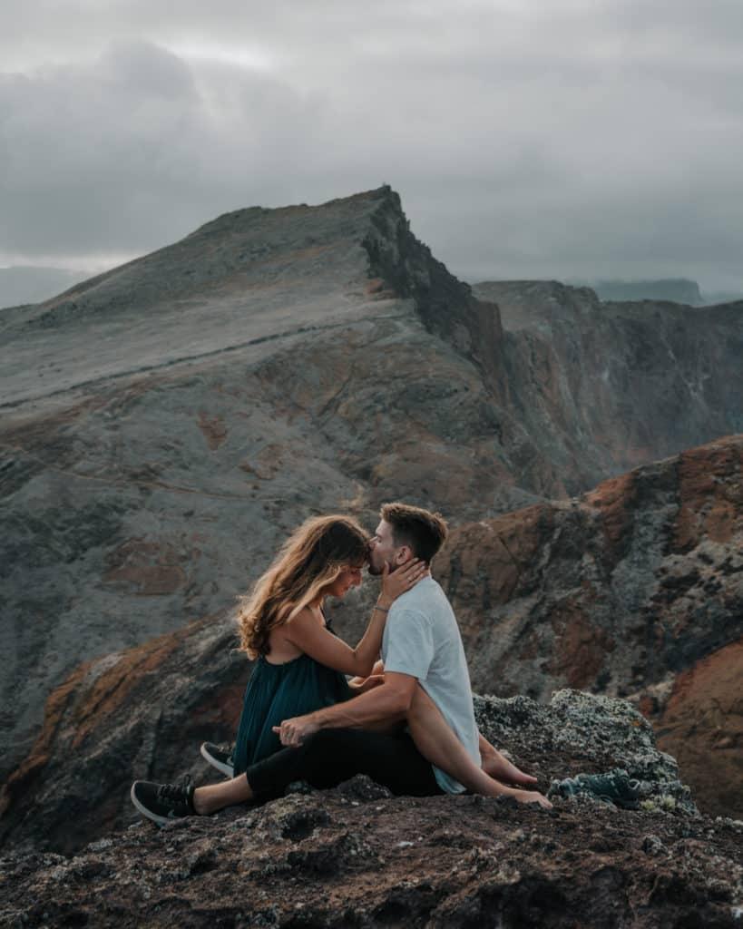 couple on a Ponta de Sao Lourenco hike Madeira photospots