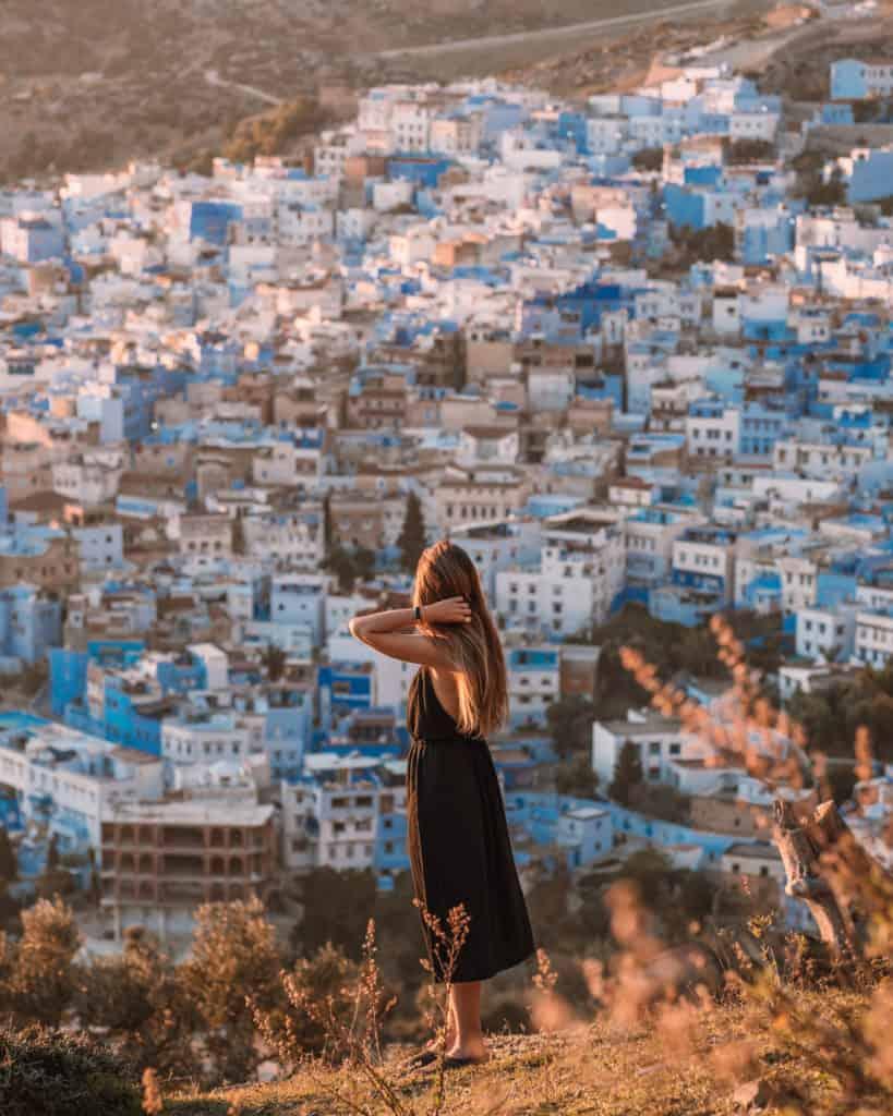 zachód słońca w chefchaouen niebieskie miasto maroko co zobaczyć
