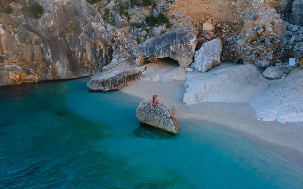 cala goloritze from the drone best beaches sardinia