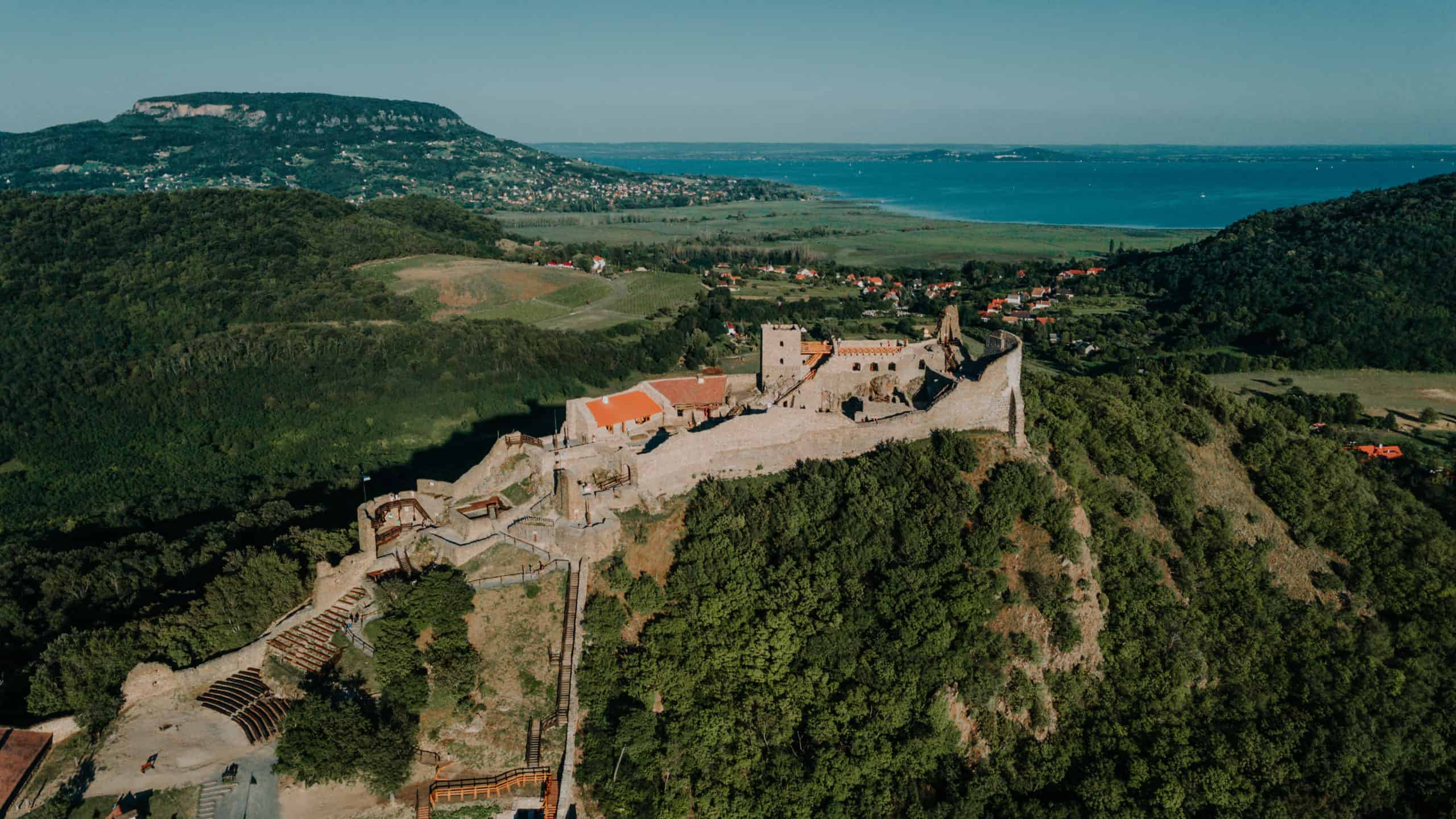 szigliget castle from the drone balaton